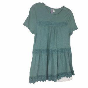 Francesca's Alya Crew Neck Short Sleeve  Blouse S